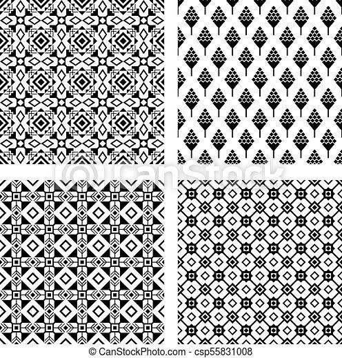 Patrón, tribal, conjunto, negro, seamless. Texturas, primitivo ...
