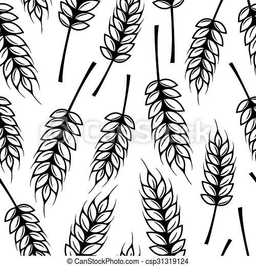 Patrón sin costura con orejas de trigo - csp31319124