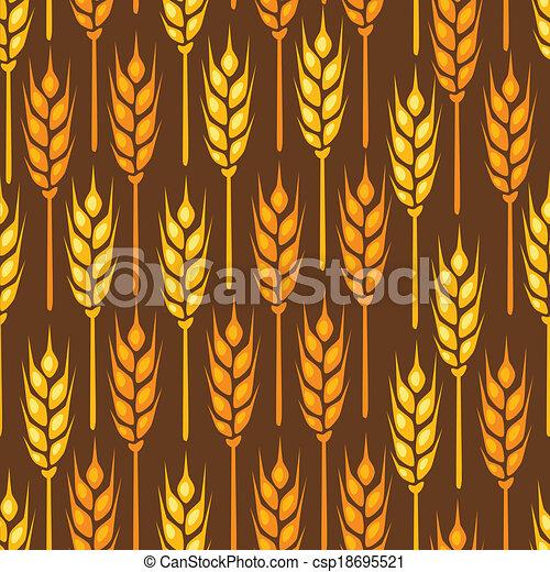 Patrón sin costura con orejas de trigo. - csp18695521