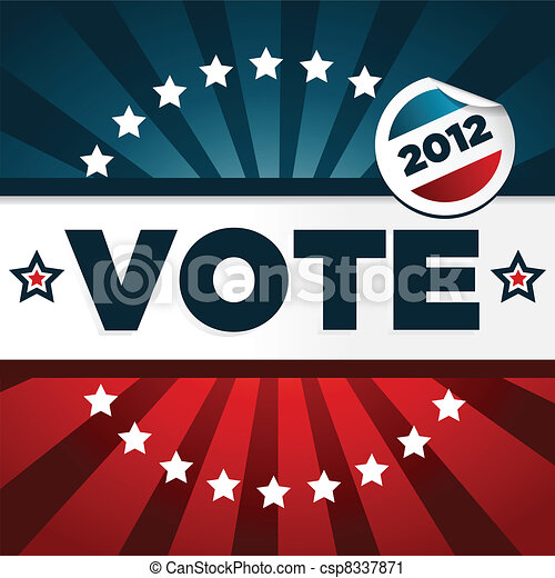 patriótico, cartaz, votando - csp8337871