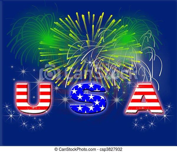Fuegos artificiales patrióticos USA - csp3827932