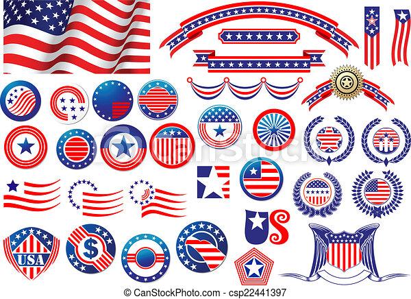 Placas y etiquetas patrióticas americanas - csp22441397