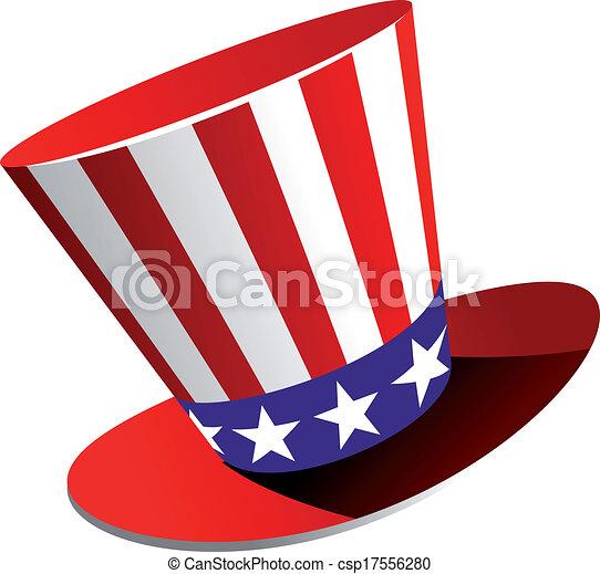 Un sombrero de copa patriota americano - csp17556280