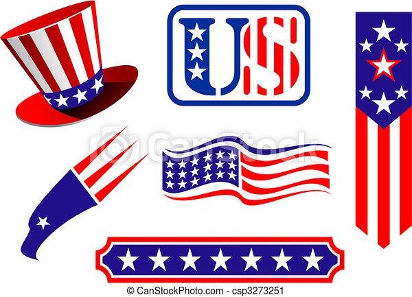 patriótico, símbolos, americano - csp3273251