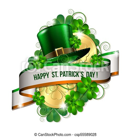 Patrick Day Card With Ribbon Gold Coins Leprechaun Hat And Clover