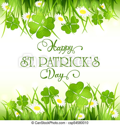 Patricks Day Background With Clover And Grass
