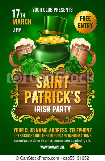 Diseño de tarjetas de invitación de San Patrick - csp55131652