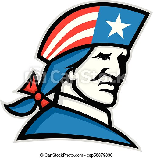 patriot-usa-flag-hat-mascot - csp58879836