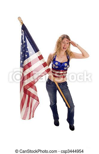 patriota, bandeira, americano, femininas, atraente - csp3444954