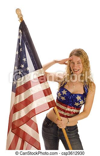 patriota, bandeira, americano, femininas, atraente - csp3612930