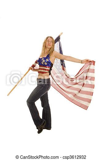 patriota, bandeira, americano, femininas, atraente - csp3612932