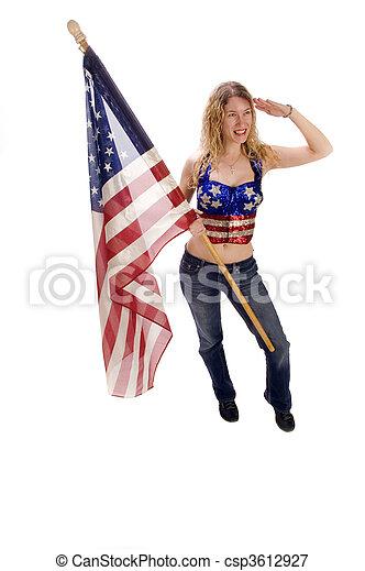 patriota, bandeira, americano, femininas, atraente - csp3612927