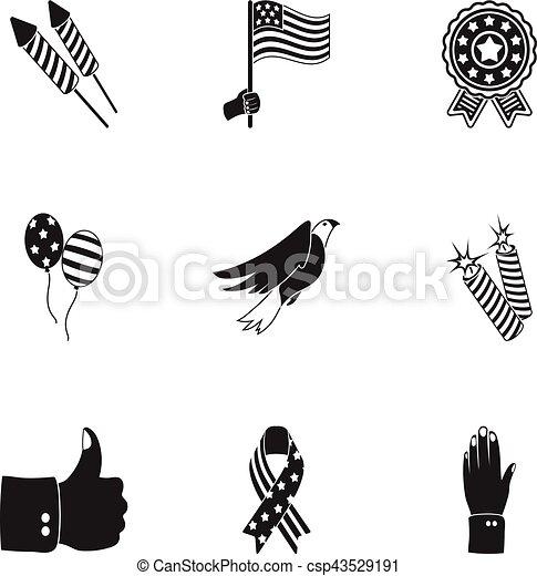 Patriota, conjunto, iconos, grande, símbolo, colección, día, vector ...