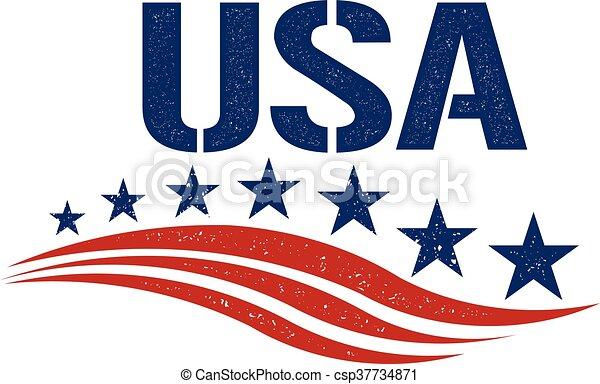 patriota, gráfico, eua, vindima, ilustração, vetorial, logo. - csp37734871