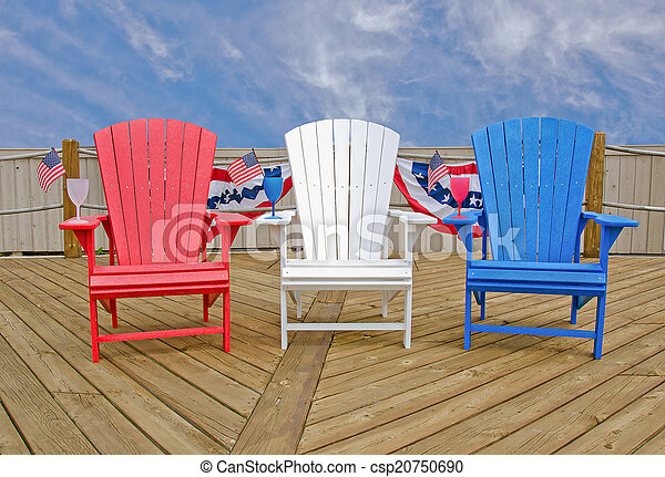 Patriotic Adirondack Chairs Red White And Blue