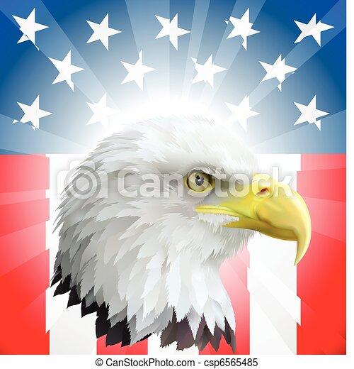 Patriotic American Eagle and Flag - csp6565485