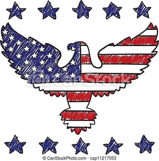 Patriotic American Eagle sketch - csp11217053