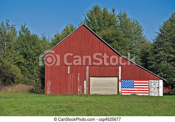 Patriotic Barn - csp4525677
