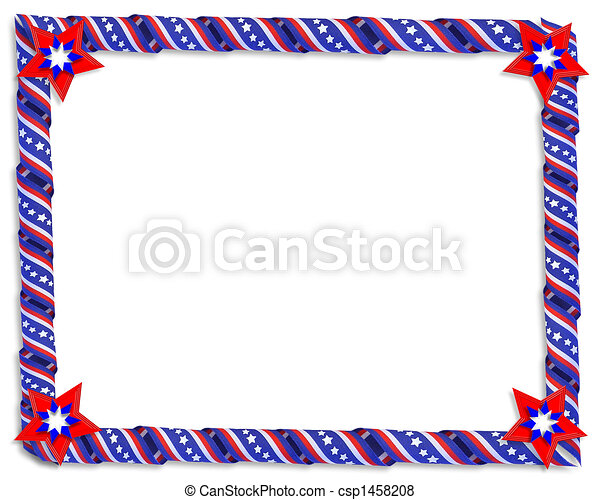 Patriotic Border Stars and stripes - csp1458208