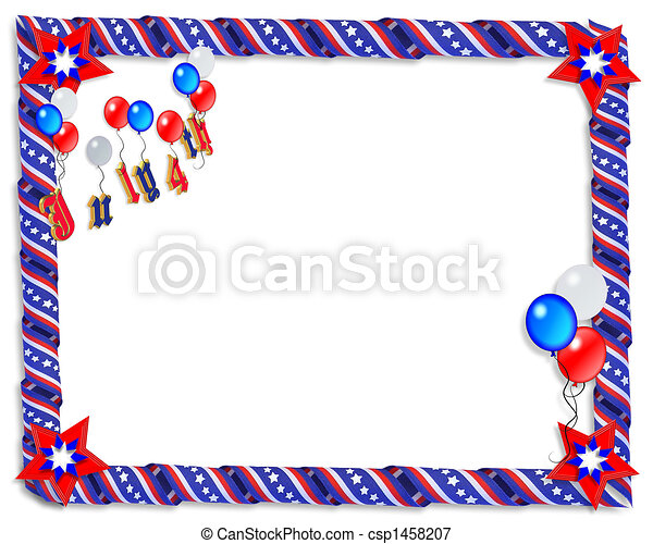 Patriotic border stars and stripes . 3d image and illustration ...