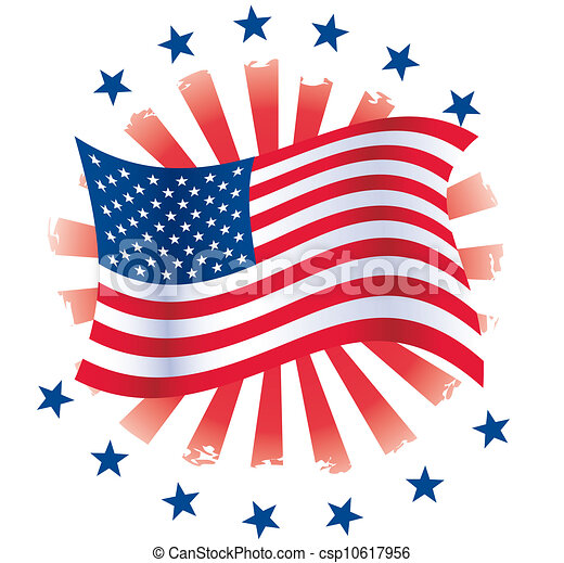 patriotic circle waving flag with stars and grunge clipart rh canstockphoto com patriotic clipart free patriotic clip art borders free