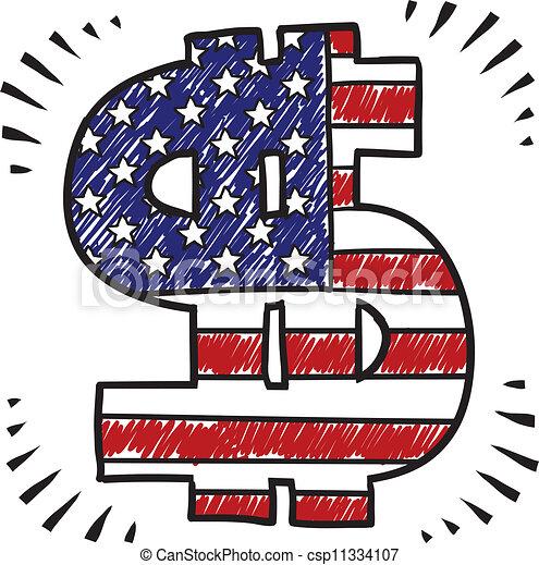 Patriotic dollar sign sketch - csp11334107