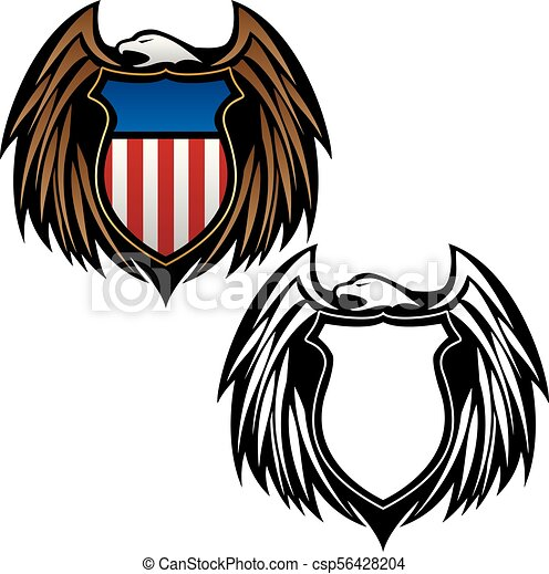 Patriotic Eagle Emblem With Shield Vector Illustration In Full Color