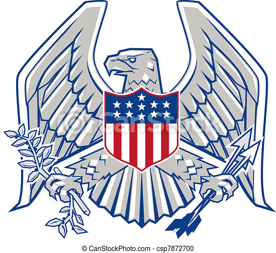 patriotic eagle eagle with shield arrows and olive branches rh canstockphoto com Patriotic Symbols Clip Art patriotic bald eagle clip art