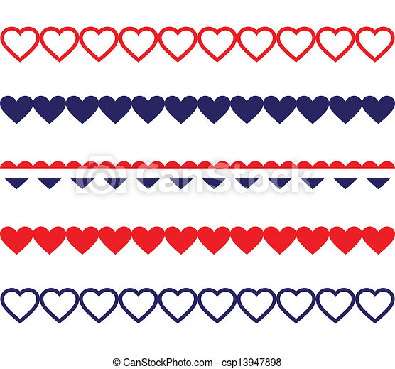 Patriotic Heart Borders Red White And Blue Heart Shaped Borders