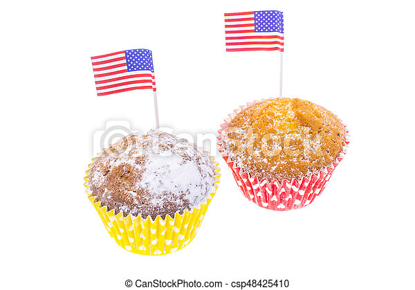 Patriotic holiday 4th of july: cupcakes with American flag. - csp48425410