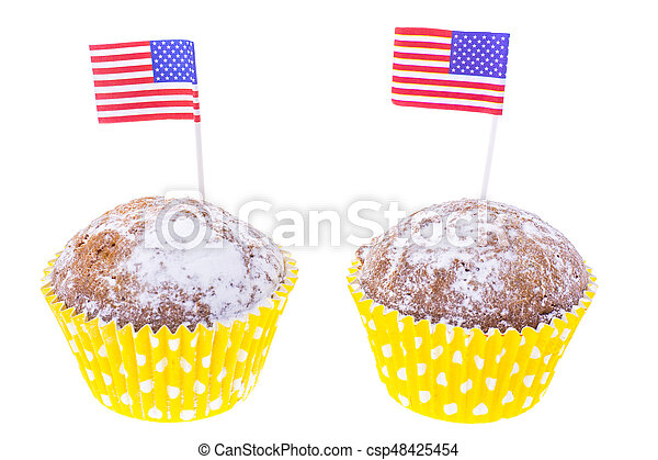 Patriotic holiday 4th of july: cupcakes with American flag. - csp48425454