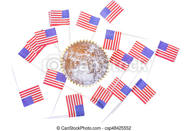 Patriotic holiday 4th of july: cupcakes with American flag. - csp48425552