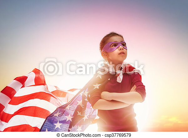 Patriotic holiday and happy kid - csp37769579