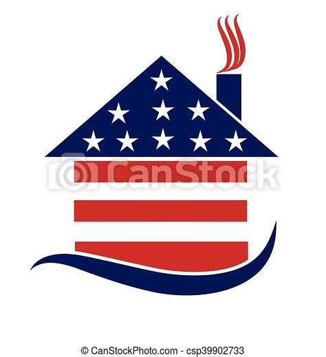 Patriotic house logo - csp39902733