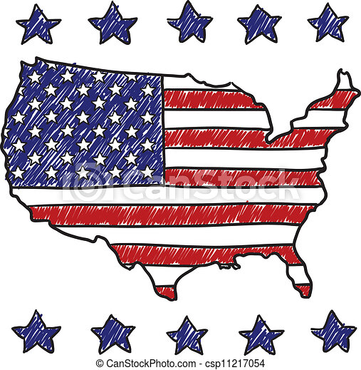 Patriotic Map Of The United States Doodle Style Patriotic - Us map clip art free