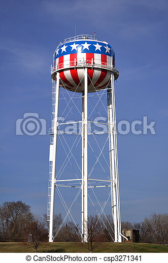 Patriotic Red, White, & Blue American Water Tower with Stars & Stripes - csp3271341