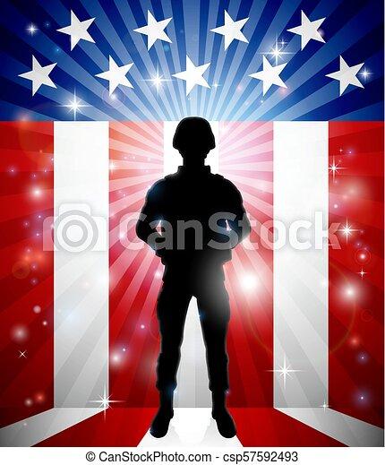 Patriotic Soldier American Flag Background - csp57592493
