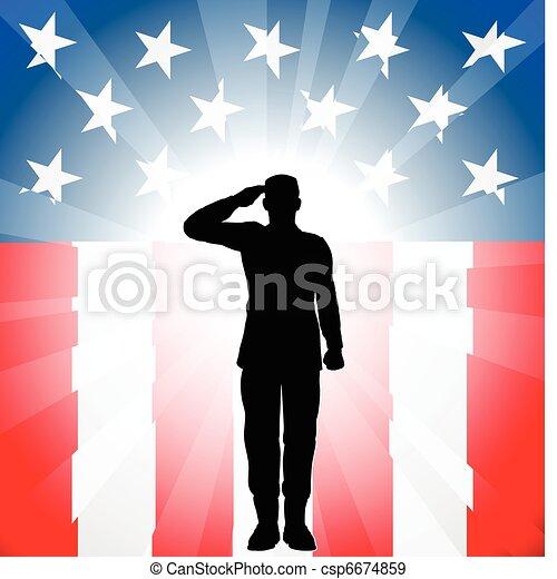 Patriotic soldier salute - csp6674859