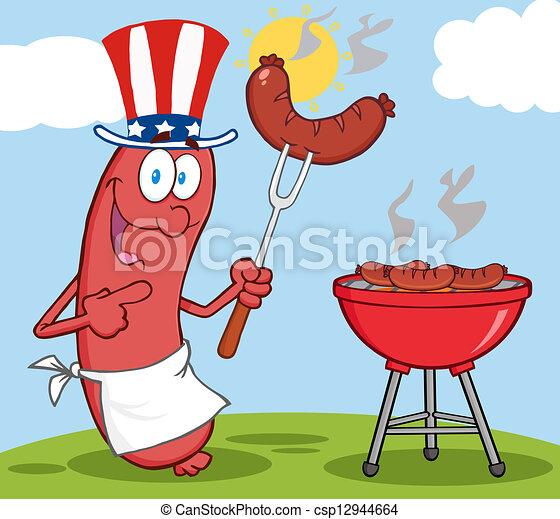 patriotique, saucisse, chapeau, heureux - csp12944664