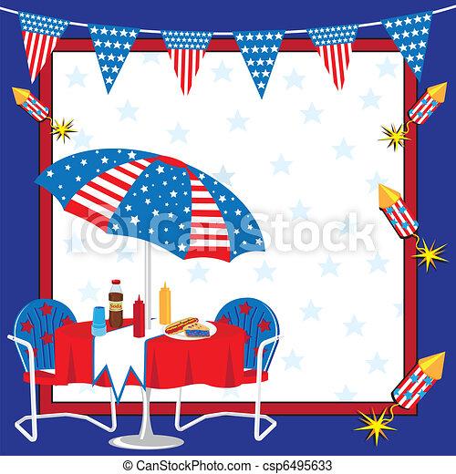 Patriotisch, picknick, einladung. Oder, 4., einladung,... Vektoren ...