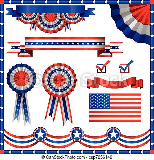patriotyczny, amerykanka, elementy - csp7256142