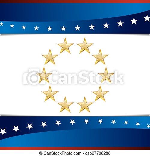 patriotyczny, gwiazda, tło, ikona - csp27708288