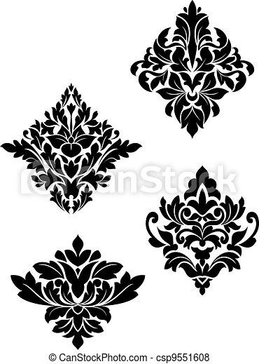 Patrones de flores de Damasco - csp9551608