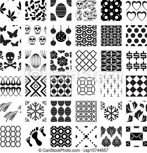 patrones, geométrico, conjunto, seamless, monocromo - csp15744657