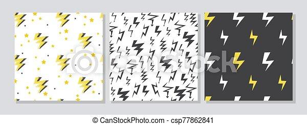 patrones, iconos, huelga, relámpago, vector, conjunto, illustration., seamless, caricatura - csp77862841