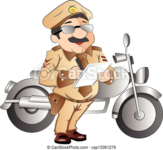 patrouille, illustratie, snelweg - csp13361279