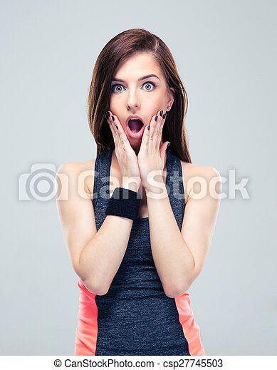 patrząc, aparat fotograficzny, kobieta, wstrząśnięty, stosowność - csp27745503