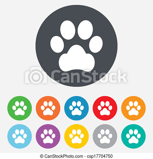 patte, chien, signe, animaux familiers, icon., symbole. - csp17704750