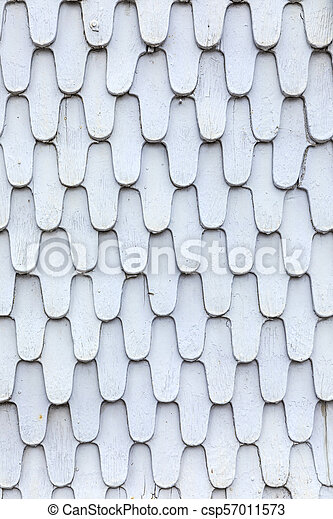 patter of grey old wooden roof shingles - csp57011573