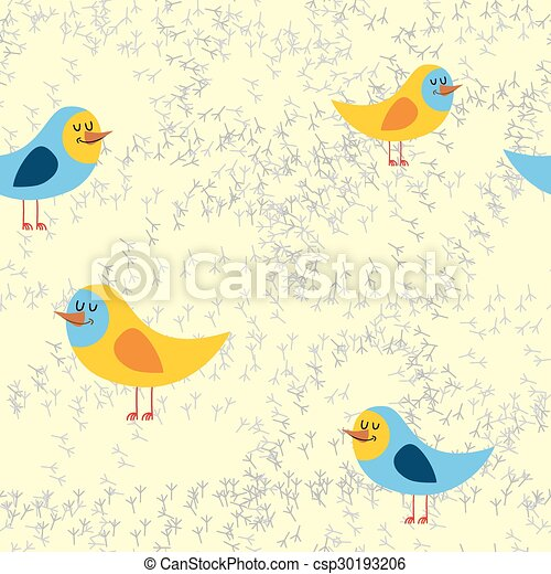 pattern., 砂, seamless, 鳥, 軌道に沿って進む, ベクトル, 背景, 美しい, 鳥 - csp30193206
